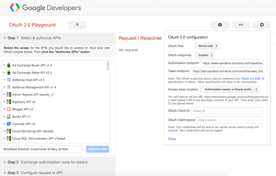 authenticate with the bondora API manually